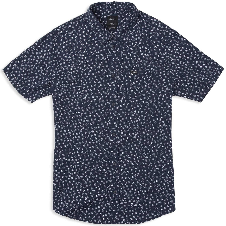 Xl Corta Federal Ficus Rvca Con Hombres Para Azul Flores Manga Camisa De wxEHq7WP