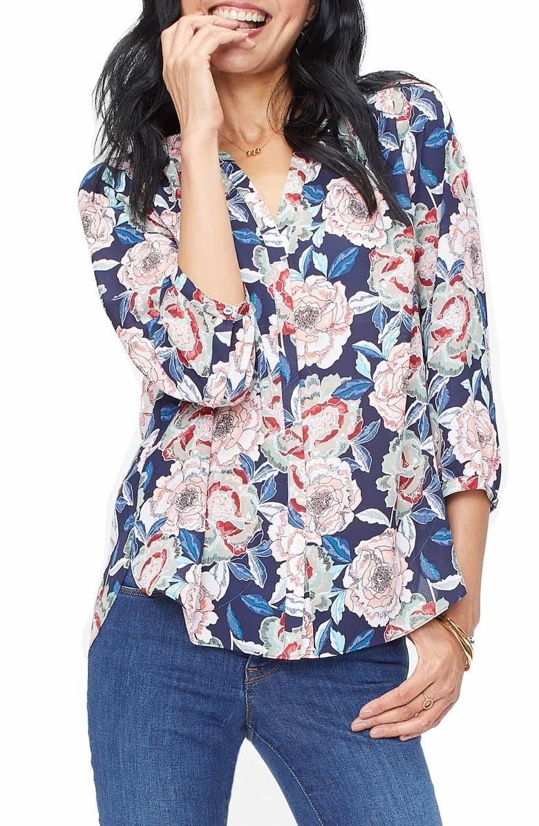 Bluse Damen Xl Pintuck Wild Langarm Regular Größe Roses Nydj qT4UB6cqw