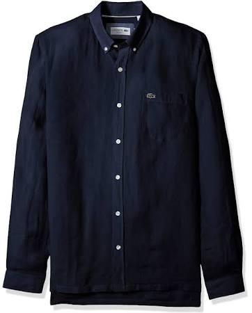Azul Regular Hombre Lino De Marino Lacoste Para Camisa Ajuste gxqTUnB