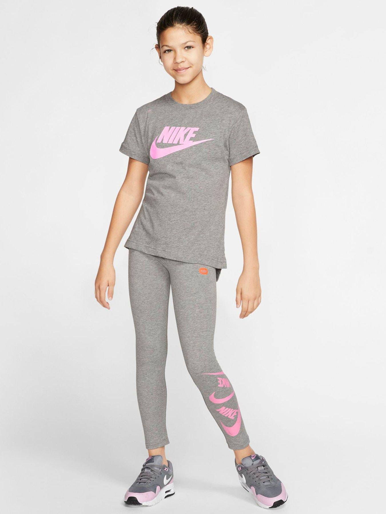 Nike Sportswear Older Girls Futura T-Shirt, Grey/Pink, Size 8-10 Years=S, Women
