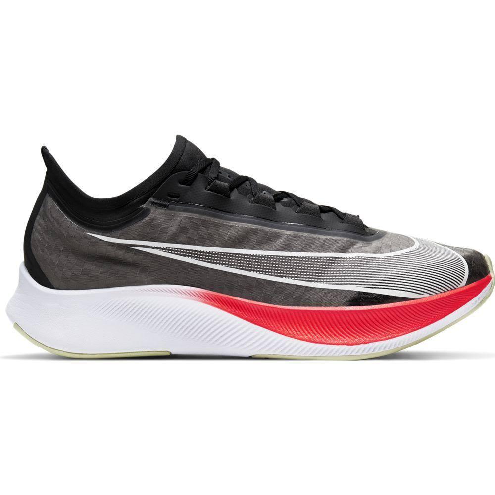 Nike Men's Zoom Fly 3 Running Shoes Black / White / Laser Crimson, 8.5