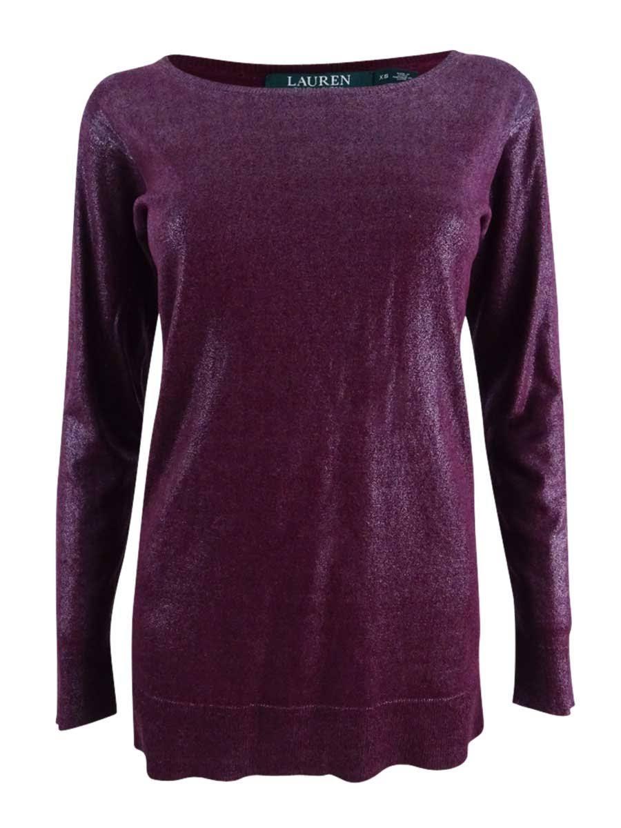 Sangria Womens Roter Ralph Metallic Größe Xs Lauren Sweater Boatneck FCnwfHq