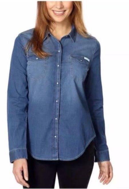 Para Azul Talla Pequeña Klein Calvin Mujer Camisa Vaquera Jeans ZgwfqgP5