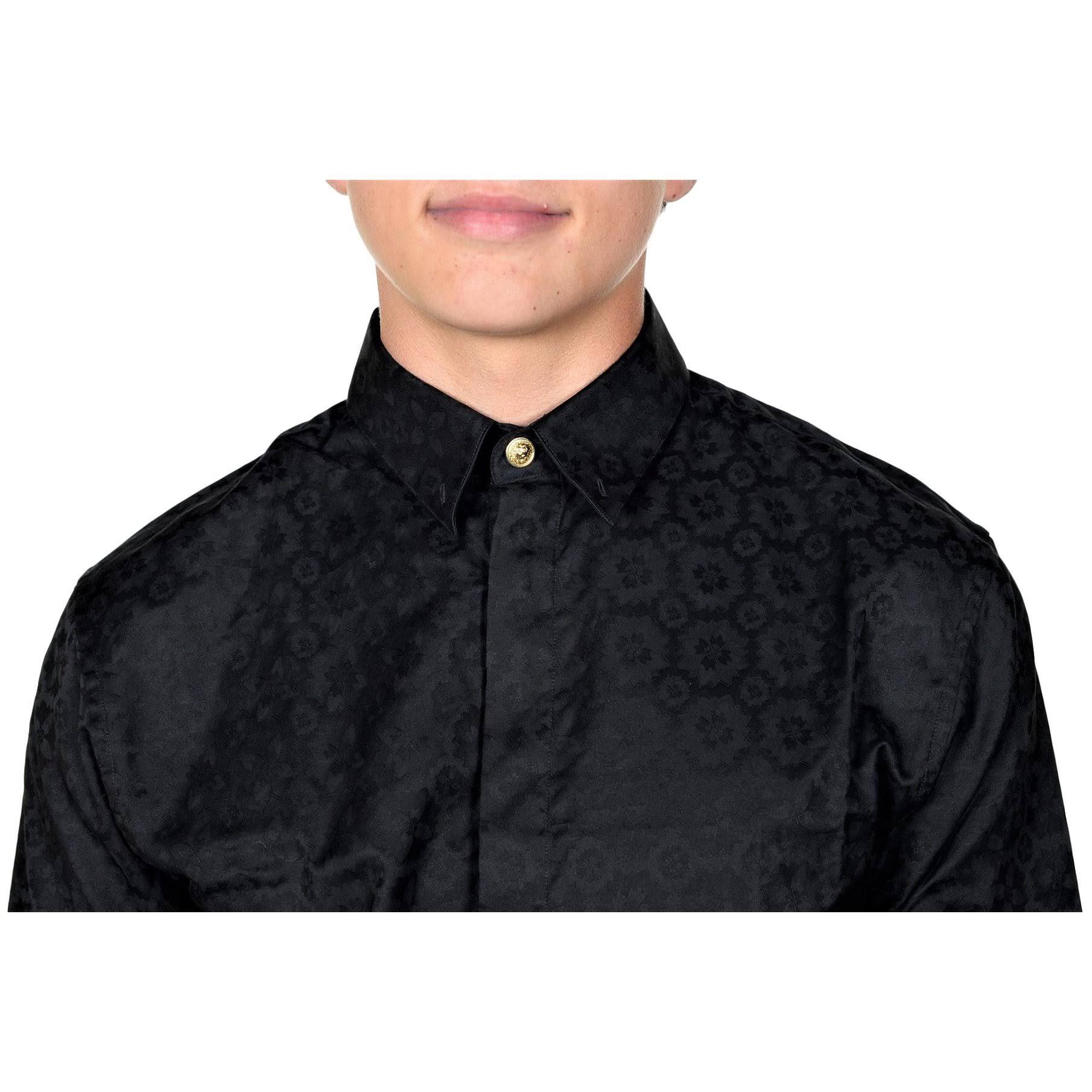 Manga Versace De Con Versus Camisa Para Us Larga It Hombres 46 medium Botones Negro tAwtqd