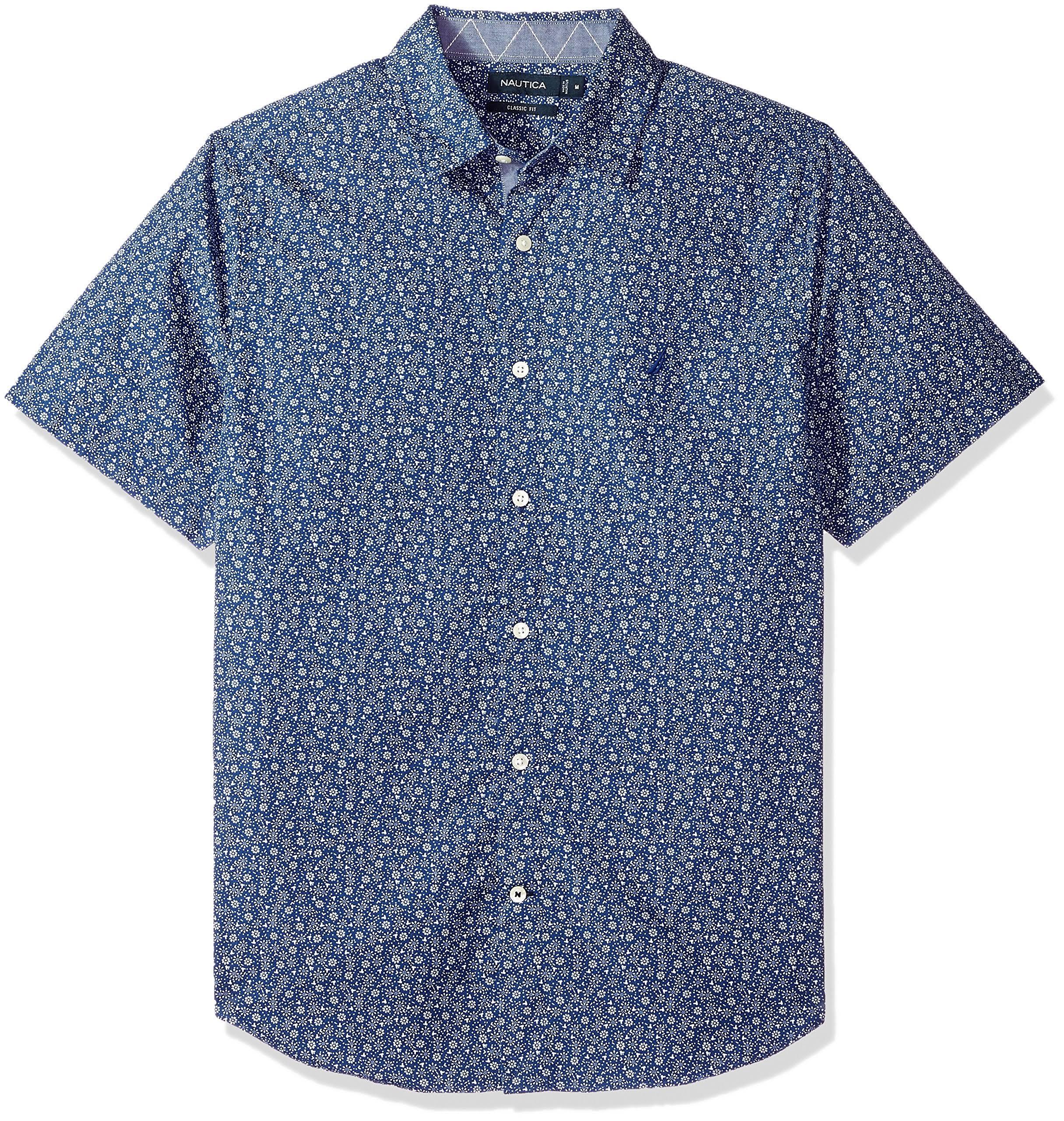 Azules Profundidades Con Para Nautica Botones Hombre Exclusivo Estampado De Manga Corta Y Camisa qPS7pwp