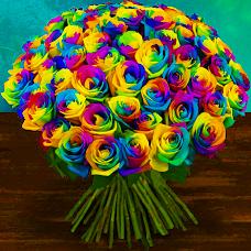 Rozvoz květin: Kytice 18 duhových luxusních růží - Praha