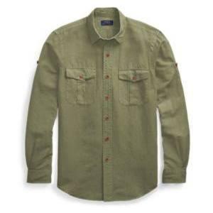 De Lauren Talla Camisa Ralph Classic S Fit Supply Lino In Mezcla Olive pIwaUZa