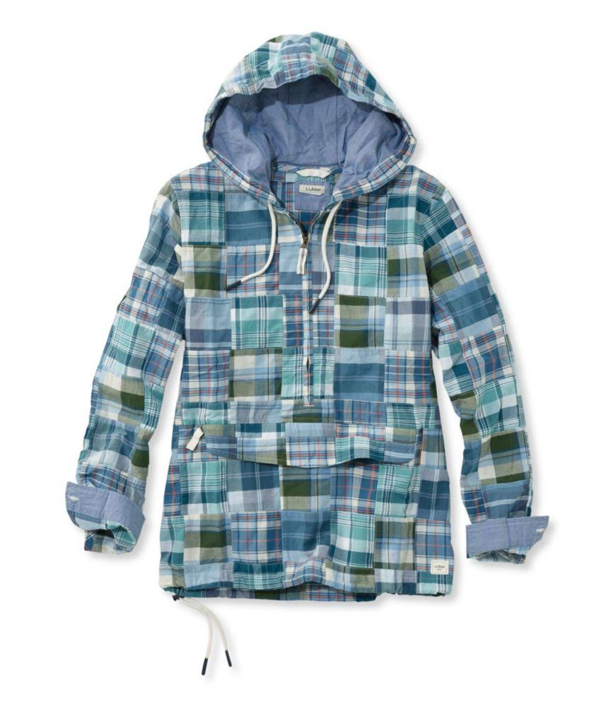 Blau Patchwork Für bean L Langarm Pullover Damen l Medium Anorak Vacationland ITwff