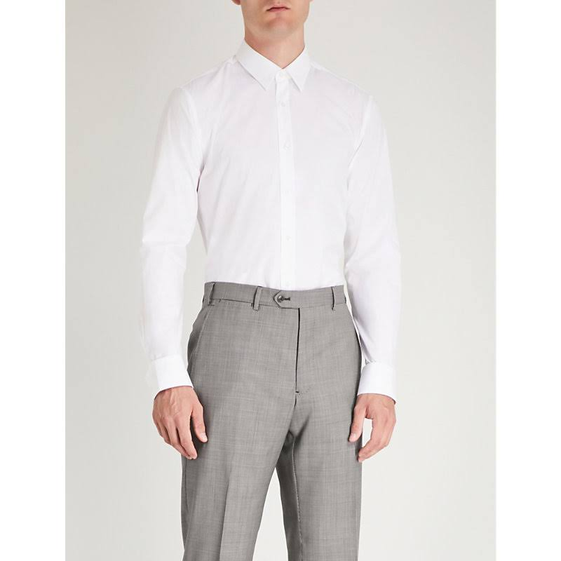 Elástico Blanco Extra Hugo En Algodón Camisa Slim qwavAxw6
