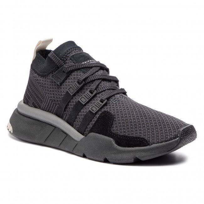 (UK 11) New Adidas Originals EQT Support MID ADV Triple Black Breathable Men's Trainers