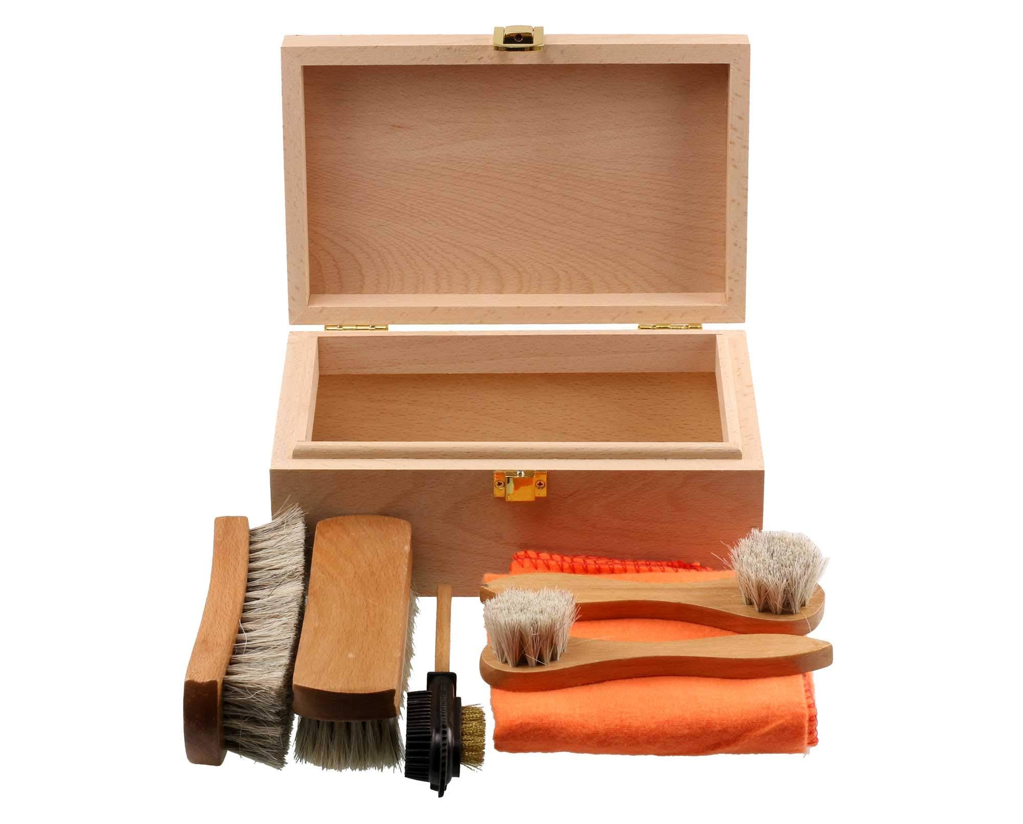 Personalised Shoe Cleaning Kit in Beech Wood Box *No Polish*
