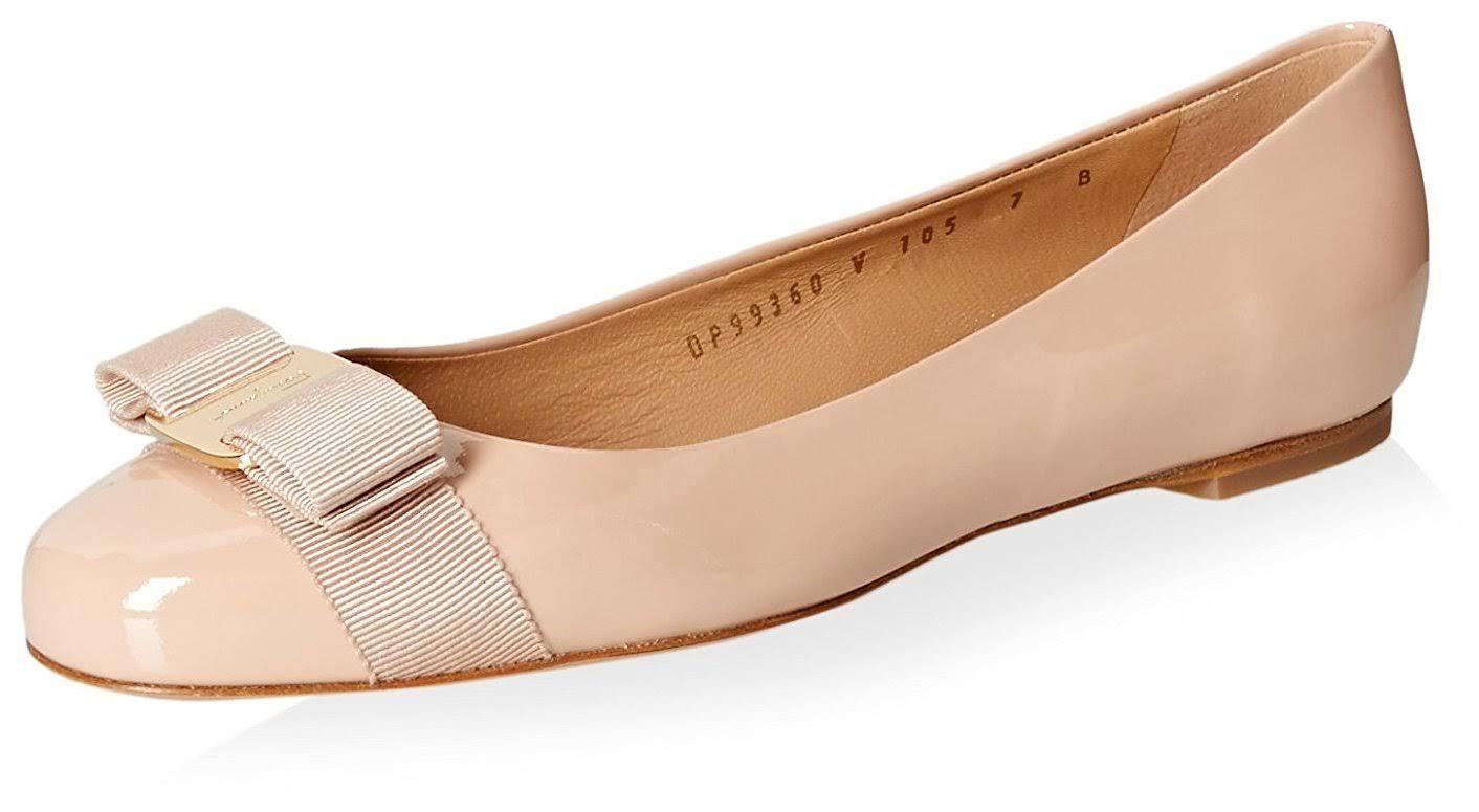 Patent Size 5 donna Bisque Salvatore Ferragamo B Ballet 5 Varina FlatsNew wXZuPOkiT