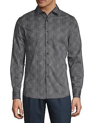 Con De Abotonada Estampado Mediano Karl Oliva Tamaño Para Lagerfeld Verde Camisa Hombre Remolinos C6xXSq