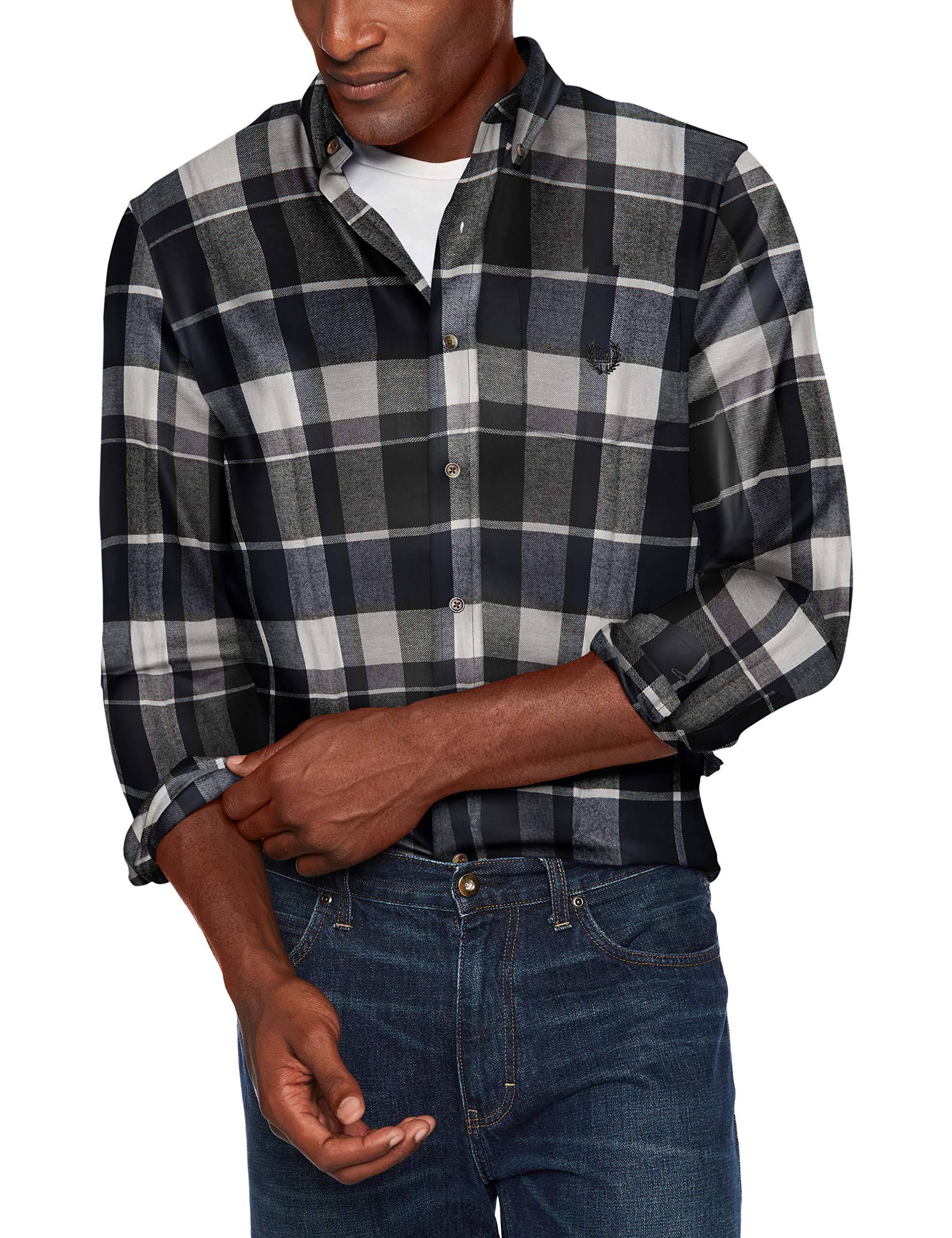 Larga Fit Chaps Manga De Azul Marino Classic Hombre Franela Para Negro Camiseta 6wZ1USwnB