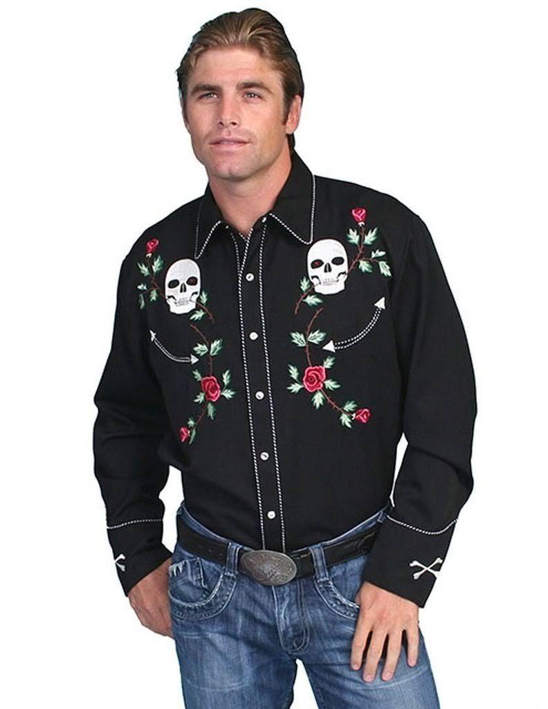 Cráneo Camisa Retro Y Hombres Los Rosas Bordada De Scully PUCT6wq