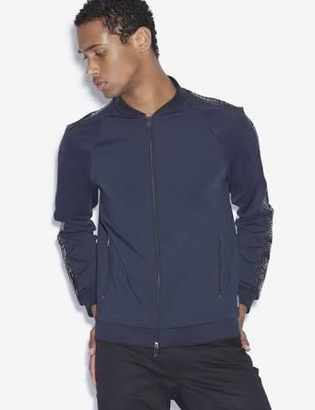 Xs Herren Armani Sweatshirt Größe Polyester Exchange Marineblau Elasthan wOqvxSY5q
