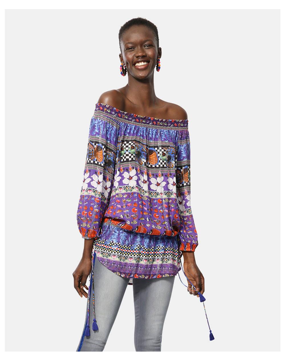 Blusa Estampado Mujeres Color Desigual Multicolor Hombro Con De 8vUx1FnqvA