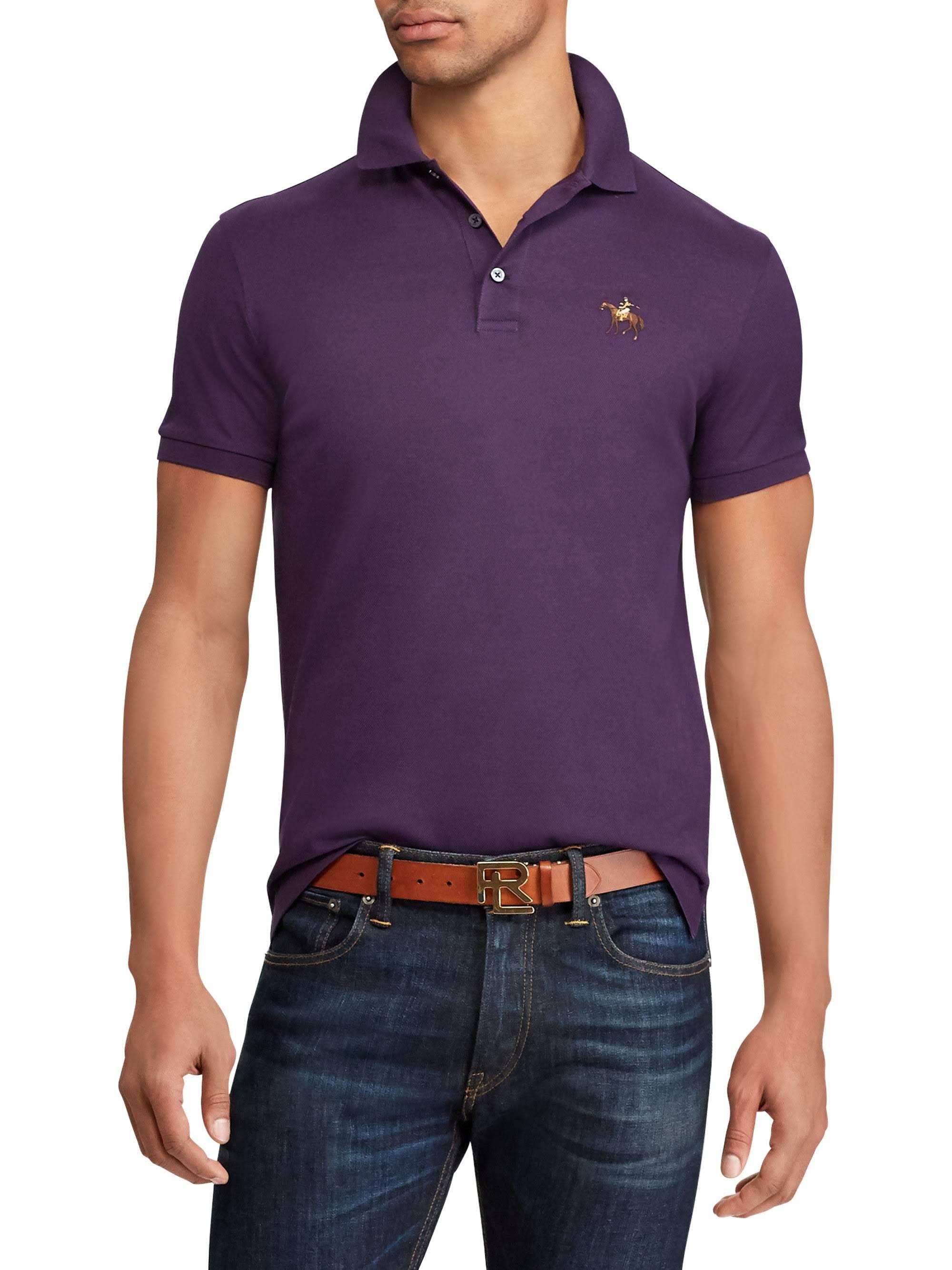 Poloshirt Lauren Purple Ralph Medium Drei Knöpfen Mit Falmouth pZWvPH