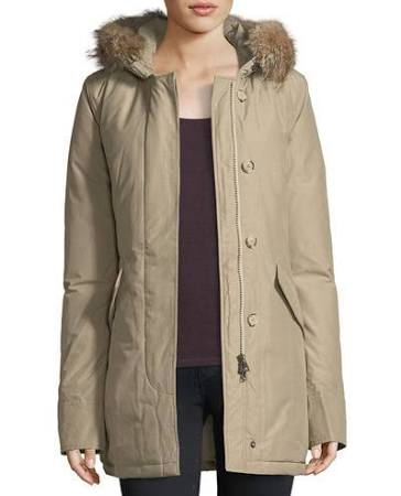 Arctic Beige Para W Hood Placket Xl Fur Mujer Parka front Woolrich dxvn0v