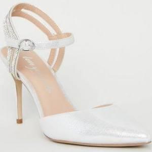 New Look Silver Metallic Diamanté 2 Part Court Shoes Vegan (Sizes: UK 5, UK 4, UK 7, UK 6, UK 9)  3yaZTX