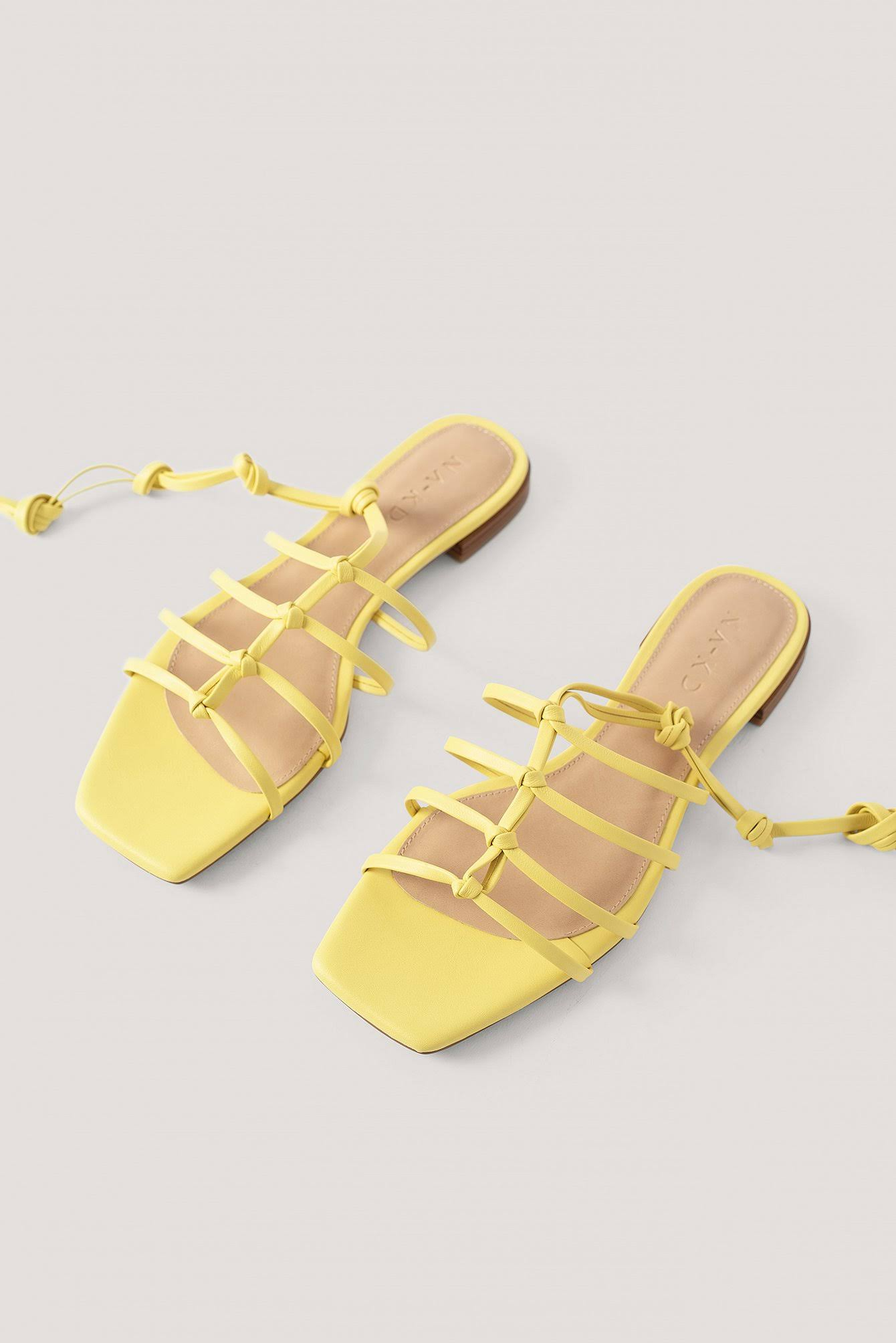 NA-KD Shoes - Sandals - Yellow - Crossed Straps Flats  NDHyiV