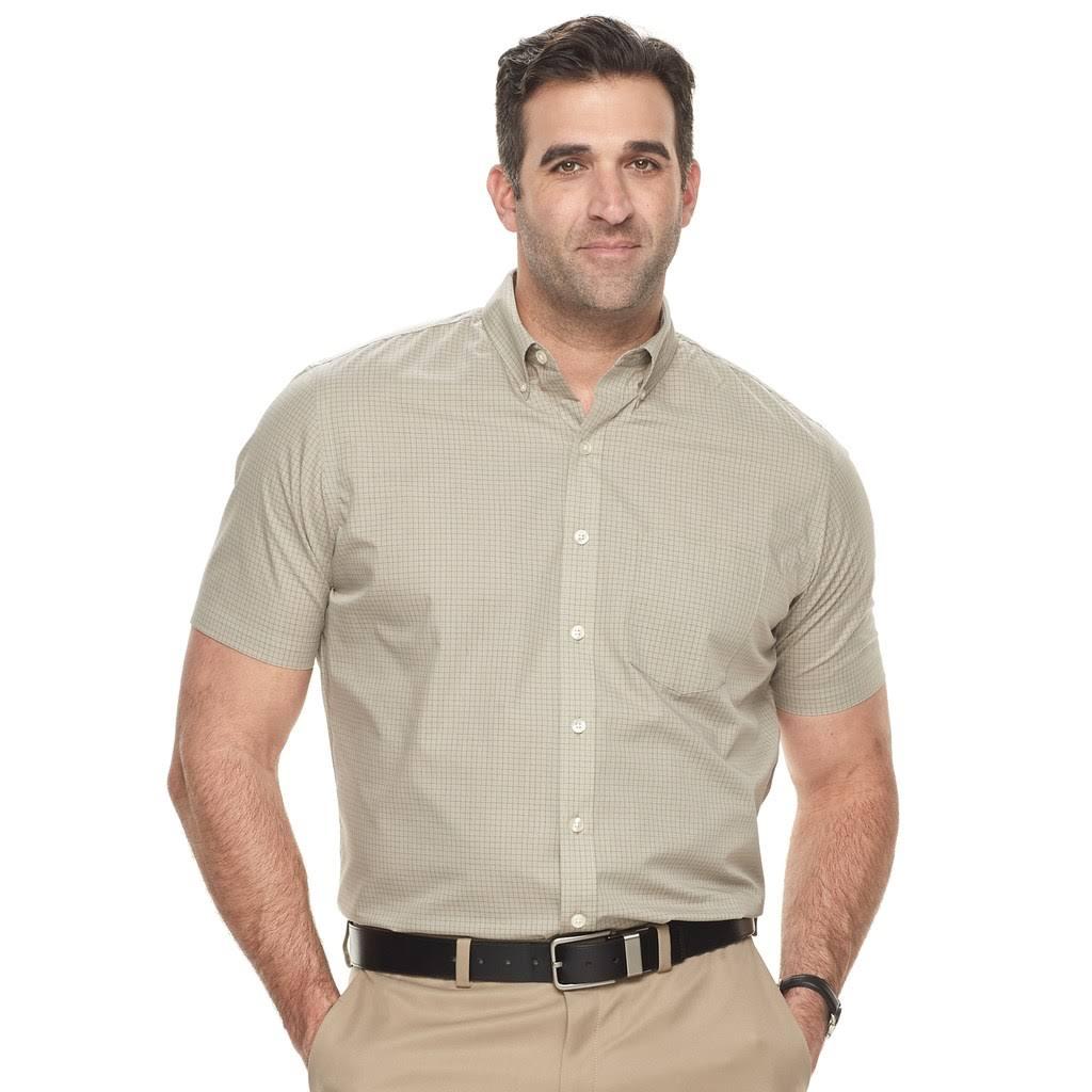 Herren Heusen print Tall Beige Hemd Mit amp; Free Wrinkle Grid Van Big UwS6d5Ux