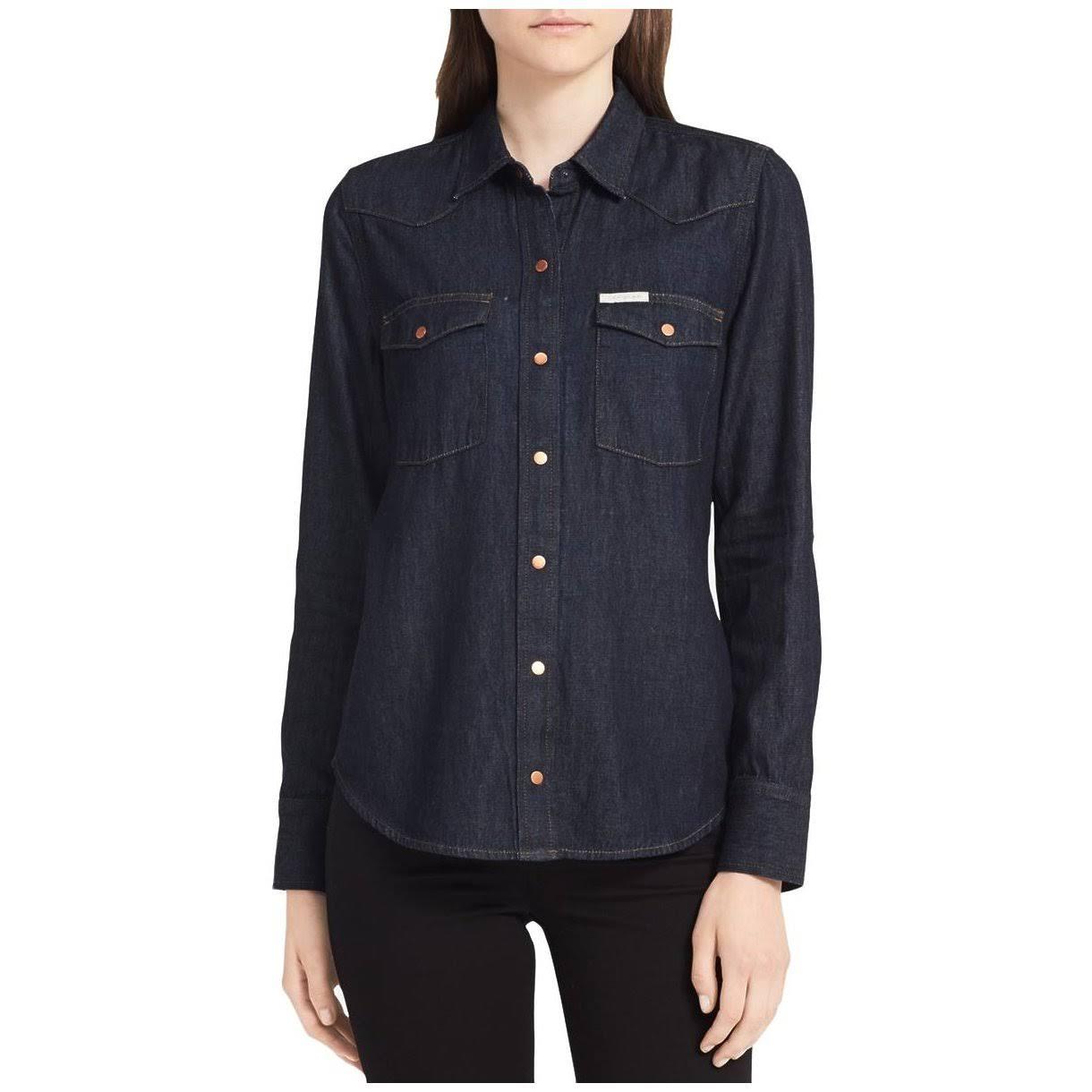 Western Calvin Camisa Para Manga De Botones Larga Jeans Con Edge Mujer Denim Klein rRSqaBrU8
