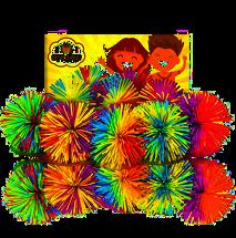 Fun Toy Stringy Balls Game Set of 5 Bundle Gift Box Bulk Relief Relax Fidget Play Squeeze Sensory Rainbow Splat Ball Monkey Toy Pom Pom Stress Ball