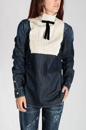 Mezclilla Bordado Camisa Camisa De De qHSUF