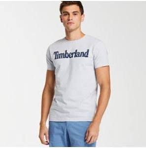 Timberland Ice L Logo Camiseta Blue Tropical Hombre Linear Con Fit Slim Para rrwR8