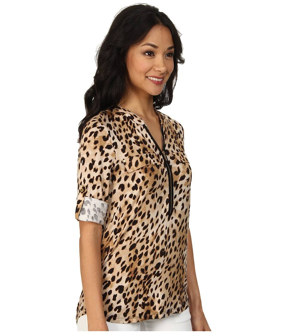 Con En Calvin Cremallera Neutro Klein Medio Top Mujer Para Negro Leopardo PAFfx