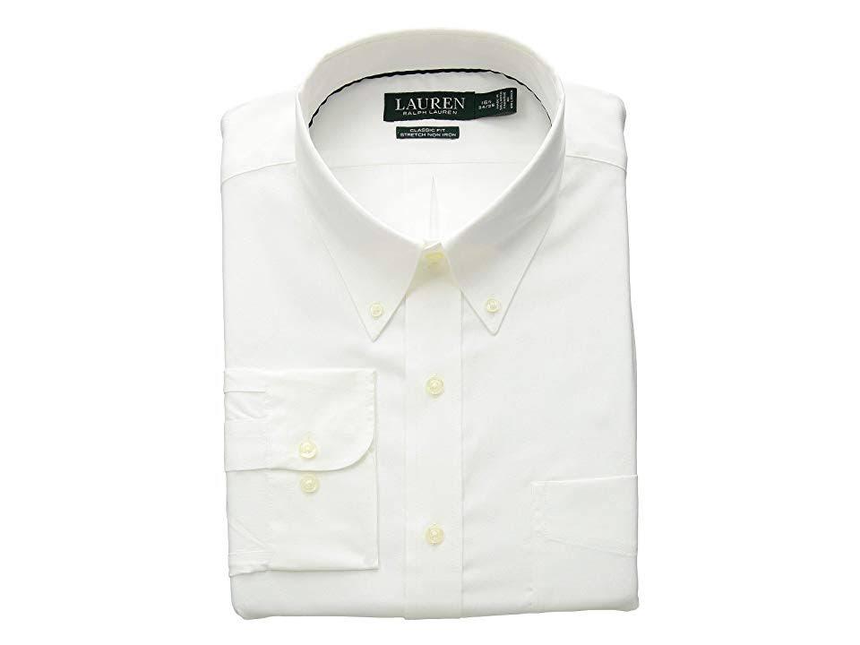 Blanco Algodón Clásico Ralph Camisa Lauren Vestir Corte Elástico De En Pq00xTHE