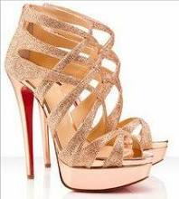 Summer gold high heels with red sole