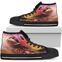 Bearded Dragon Men's Classic High Top Canvas Shoes
