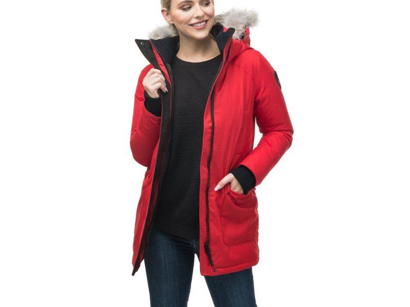 Carla se Parka Red se Nobis chred Carla m Medium Crosshatch Frauen Ch OSBUCnxwq