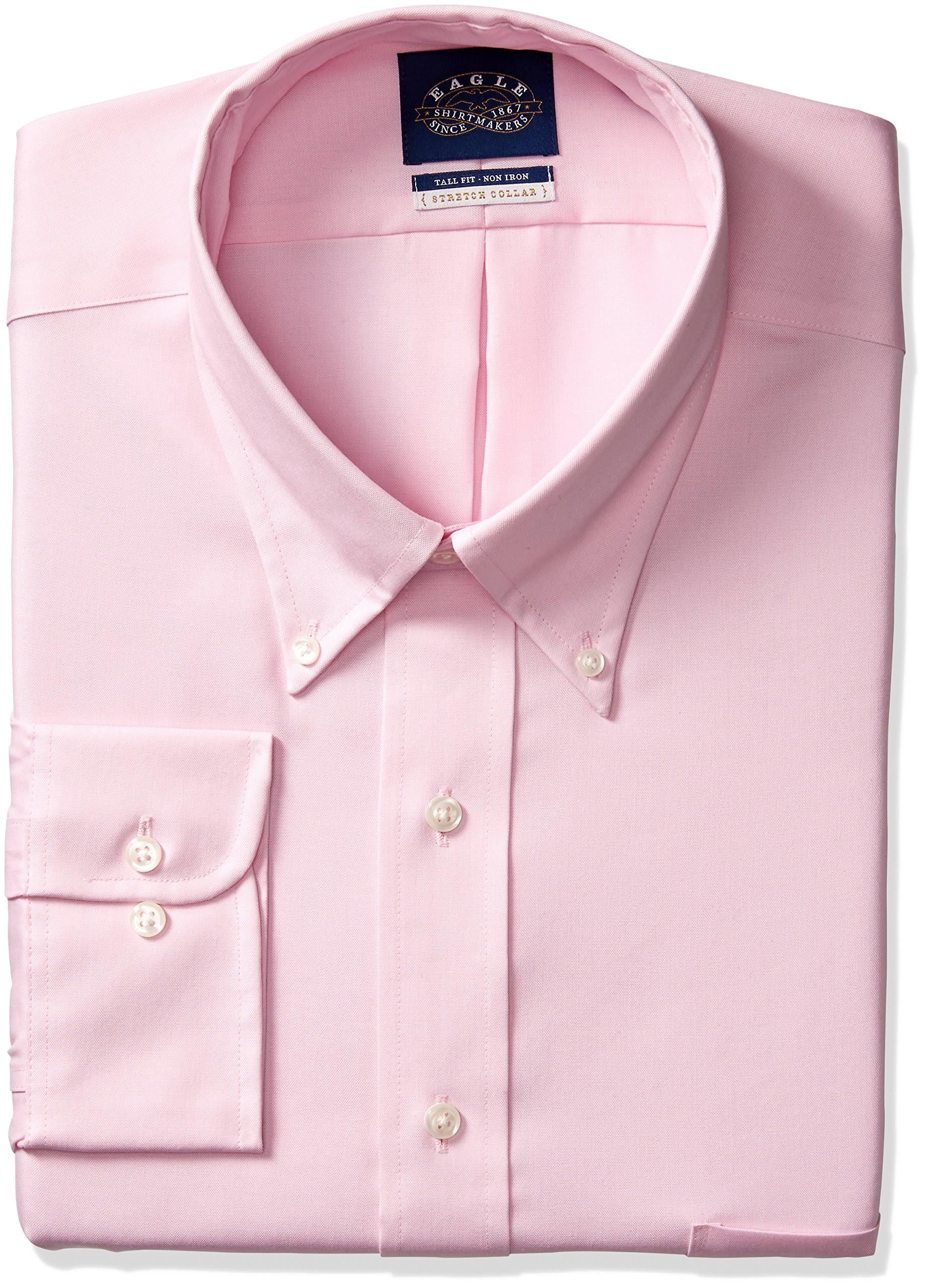 Hombre Grande Hierro Para 35 Elástico Clásico Cuello Recto Sin 36 Eagle Con Vestir Y De Rosa Camisa 5 16 Corte wzq7164