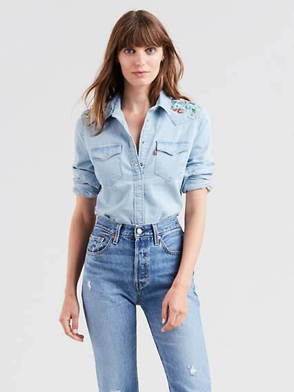 Levi's Chambray Shirt Ultimate Ligero Mujeres Para L Western Stonewash Hrzrtg