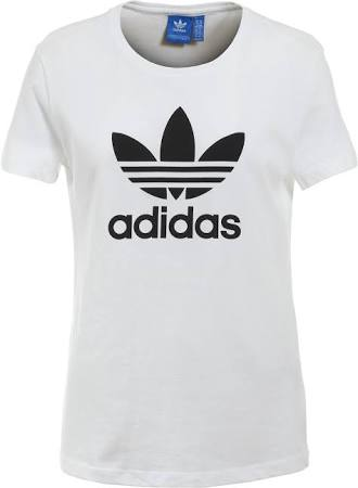 Mujer Adidas Negro Camiseta S Blanco Trefoil Para wtwqSz