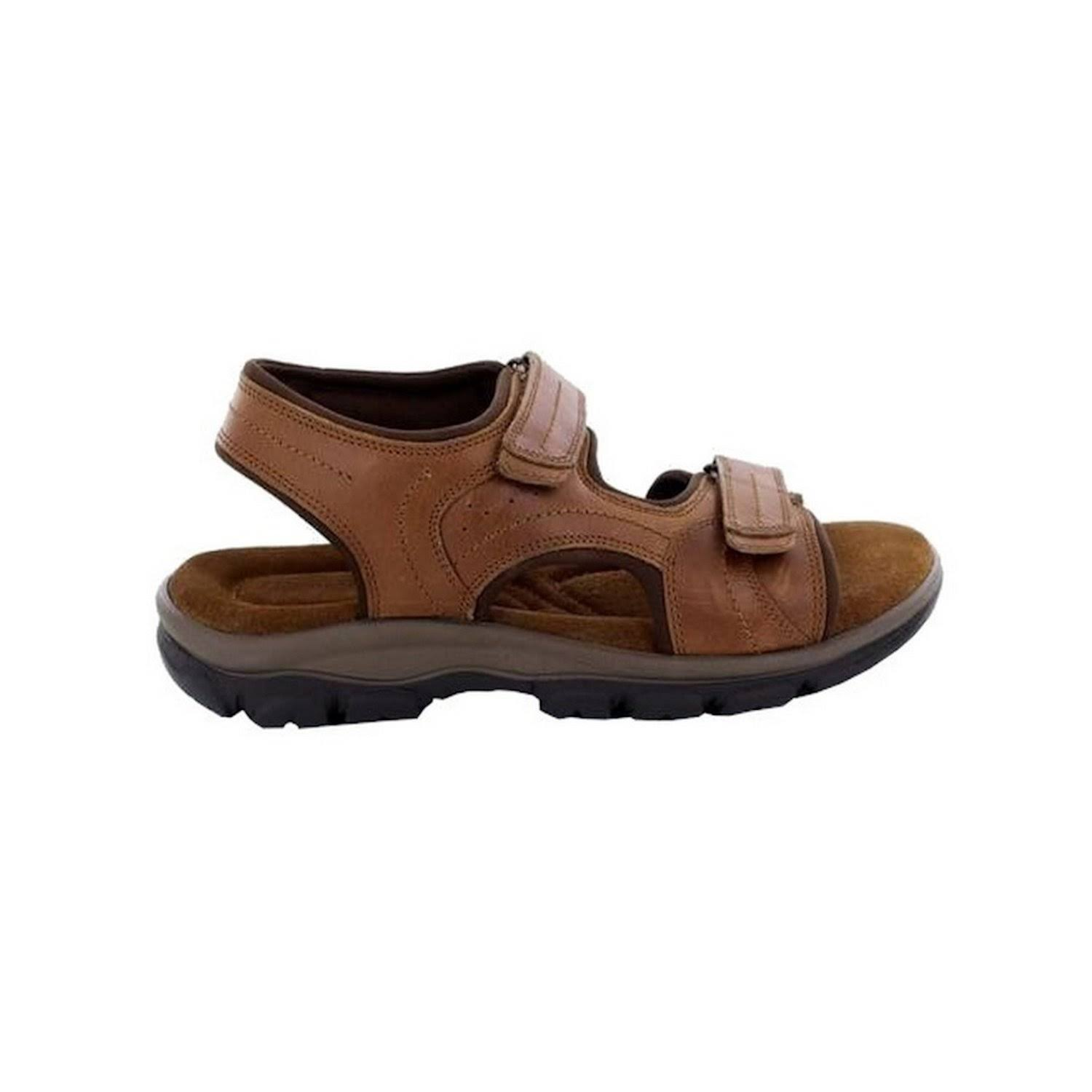 Roamers Mens Leather Sandals Twin Touch Fastening Padded Suede Sock Shoes Tan UK 7  Xqn0Xd