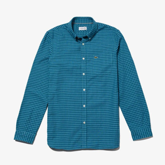 Para Camisa Algodón Lacoste De Azul Hombre Regular BxwRtqx4v