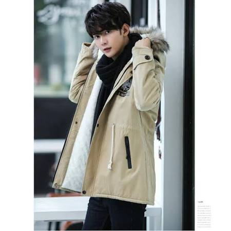Winterjacke Hood S Herren Warm M03khaki New Mantel Costbuys Fleece Outwear Fashion Slim Liebhaber Fit Lässig Parka qZzpxREw