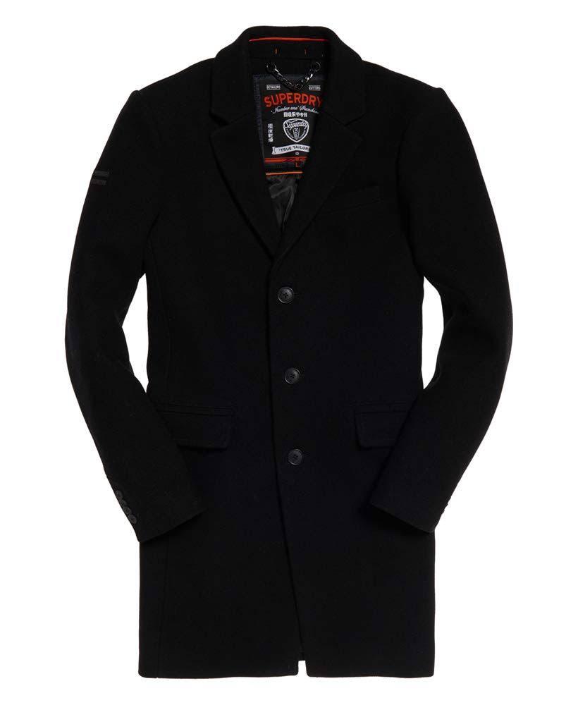 M Superdry Tamaño Para De Hombre Negro Abrigo Camisa 06Zwxqnv