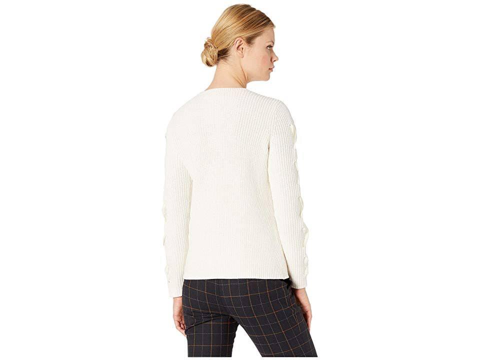 Baumwollpullover up Lace Lauren S Winter Frauen Cream Ralph qOtnxwHnI
