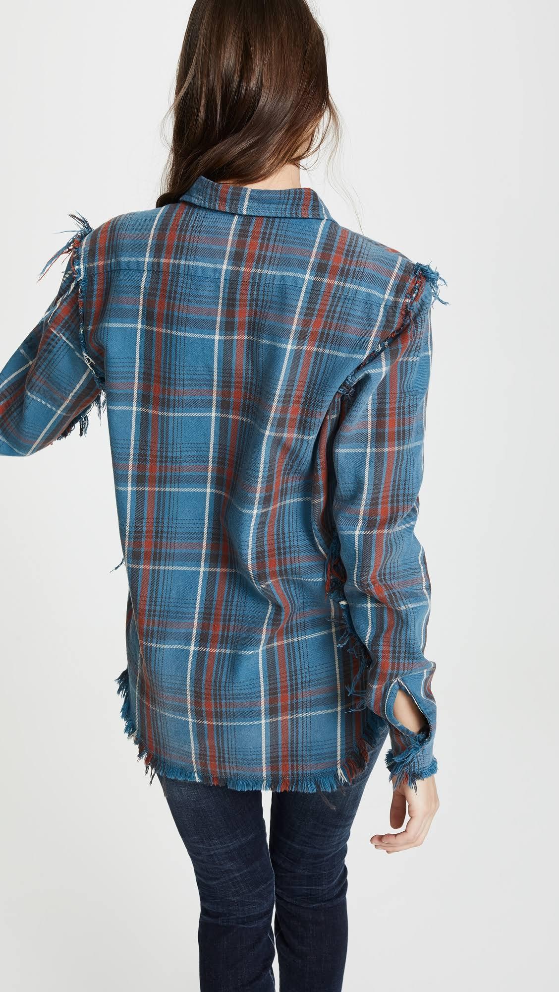 L Algodón Cuadros De Md Franela Para A Hombre Camisa Azul R13 Tamaño RTqw66