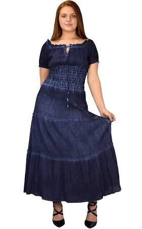Denim Couture Dark Smocked Pfirsich Kleid Tank Zigeuner Damen Vintage Renaissance vwwqxpzd