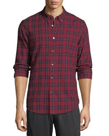 Casual 2x Con De Camisa Y Hombres A Para Pizarra Piedra Cuadros Rojo Tamaño Botones Gran 7dqx5Sw