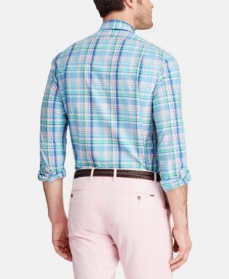 Xs Polo Slim Blau Kleid Ralph Fit Baumwollhemd Lauren Plaid 118rf