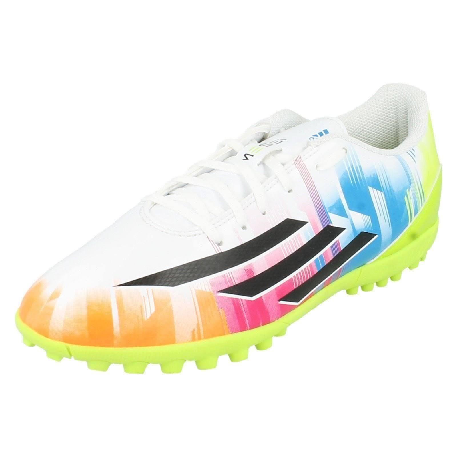 (UK 10.5, RunWht/ Black1/ Solsli) Mens Adidas Trainers F5 TRX TF Messi