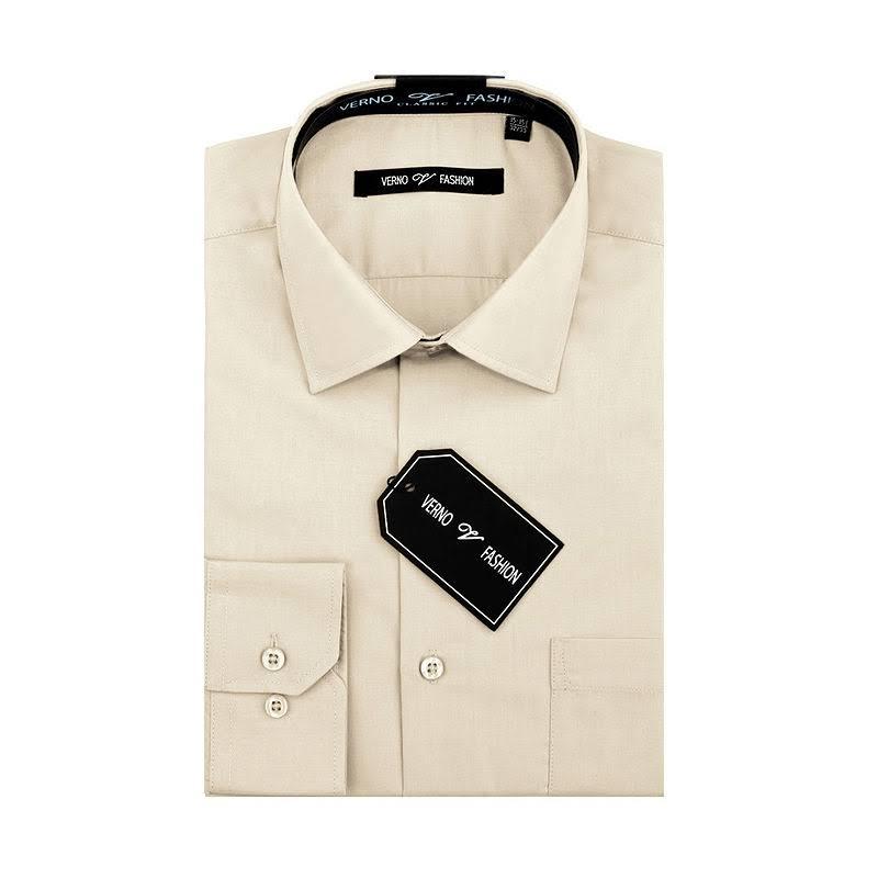 Clásico Oscuro 21 Verno Talla Hombre 34 Para 35 Corte Beige Camisa De Vestir 6qOR4R