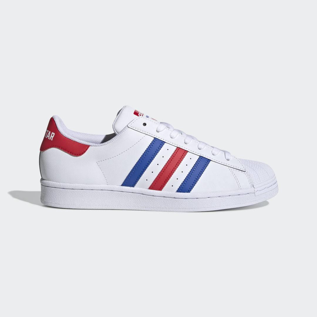 Adidas Superstar White Blue Red